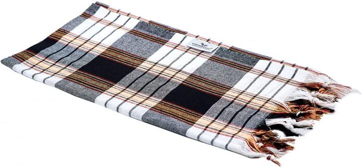 Hamamtuch CLASSIC schwarz kariert, leicht & platzsparend, 100% Baumwolle, 80 x 170 cm