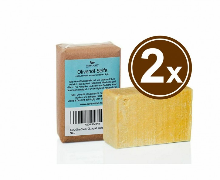 2x Olivenölseife aus 100% Olivenöl handgesiedete Manufakturseife 2x150g