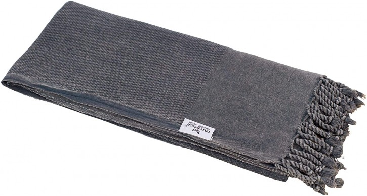 Hamamtuch STONE WASHED anthrazit-grau, platzsparend & saugstark, 100% Baumwolle, 80 x 190 cm