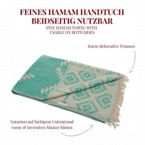 Hamamtuch KELIM grün, Doubleface Tuch edel & hochwertig, 100% Baumwolle, 90 x 175 cm