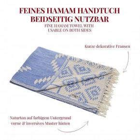 Hamamtuch KELIM blau, Doubleface Tuch edel & hochwertig, 100% Baumwolle, 90 x 175 cm