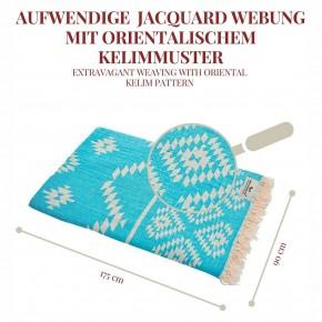 Hamamtuch KELIM türkis, Doubleface Tuch edel & hochwertig, 100% Baumwolle, 90 x 175 cm
