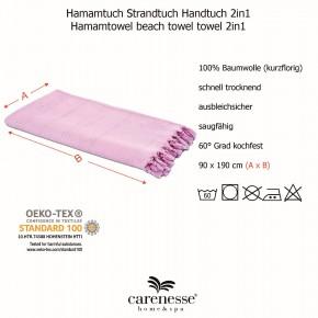 Hamamtuch FROTTIER 2in1 rosa, Handtuch und Pestemal in einem, 100% Baumwolle, 90 x 190 cm