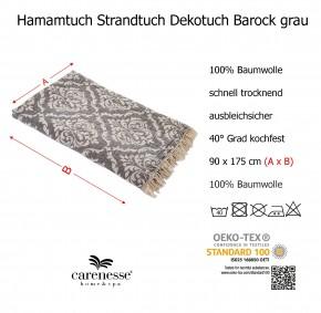 Hamamtuch BAROCK grau, Doubleface Tuch edel & hochwertig, 100% Baumwolle, 90 x 175 cm