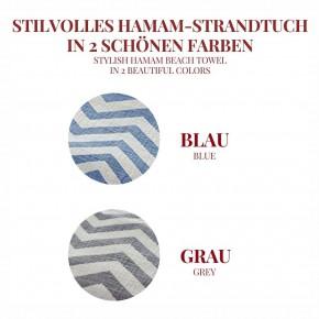 Hamamtuch ZICK ZACK blau, Doubleface Tuch edel & hochwertig, 100% Baumwolle, 90 x 175 cm