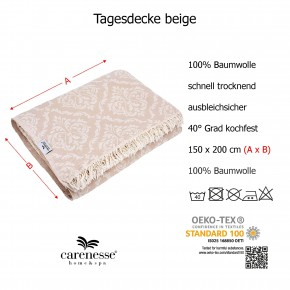 Tagesdecke BAROCK beige beidseitig schöner Überwurf dünn & leicht 100% Baumwolle 150 x 200 cm
