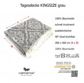 Tagesdecke BAROCK grau King Size beidseitig schöner Überwurf dünn & leicht 100% Baumwolle 260 x 260 cm