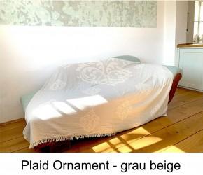 Tagesdecke ORNAMENT grau beidseitig schöner Überwurf dünn & leicht 100% Baumwolle 180 x 210 cm