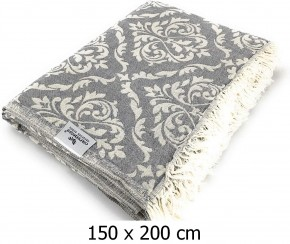 Tagesdecke BAROCK grau beidseitig schöner Überwurf dünn & leicht 100% Baumwolle  150 x 200 cm