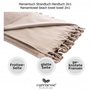 Hamamtuch FROTTIER 2in1 beige, Handtuch und Pestemal in einem, 100% Baumwolle, 90 x 190 cm