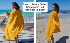 Hamamtuch FROTTIER 2in1 türkis, Handtuch und Pestemal in einem, 100% Baumwolle, 90 x 190 cm