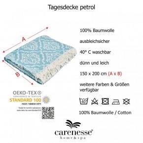 Tagesdecke BAROCK petrol beidseitig schöner Überwurf dünn & leicht 100% Baumwolle  150 x 200 cm