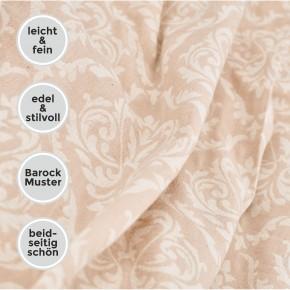 Tagesdecke BAROCK King Size beige beidseitig schöner Überwurf dünn & leicht 100% Baumwolle 260 x 260 cm