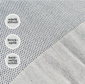 Tagesdecke FAVO Queen Size grau-blau Überwurf mit Pepita-Muster & Fransen 100% Baumwolle 200 x 240 cm