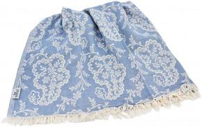 Hamamtuch PAISLEY blau, Doubleface Tuch edel & hochwertig, 100% Baumwolle, 90 x 175 cm