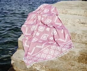 Hamamtuch KELIM rot, Doubleface Tuch edel & hochwärtig, 100% Baumwolle, 90 x 175 cm