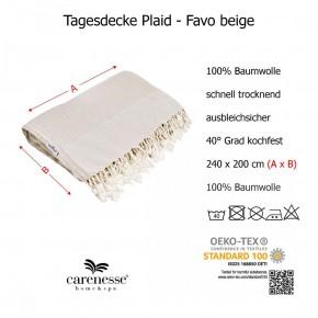 Tagesdecke FAVO Queen Size beige Überwurf mit Pepita-Muster & Fransen 100% Baumwolle 200 x 240 cm