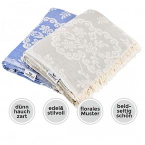 Tagesdecke PAISLEY blau beidseitig schöner Überwurf dünn & leicht 100% Baumwolle  150 x 200 cm