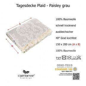 Tagesdecke PAISLEY grau beidseitig schöner Überwurf dünn & leicht 100% Baumwolle  150 x 200 cm