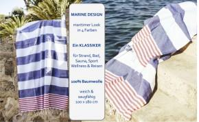 Hamamtuch TOMMY blau weiß rot gestreift, leicht & stylish, 100% Baumwolle, 100 x 180 cm