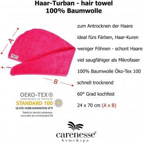 Haarturban pink - Kopfhandtuch für stabilen Halt beim Haare Trocknen 100% Baumwolle